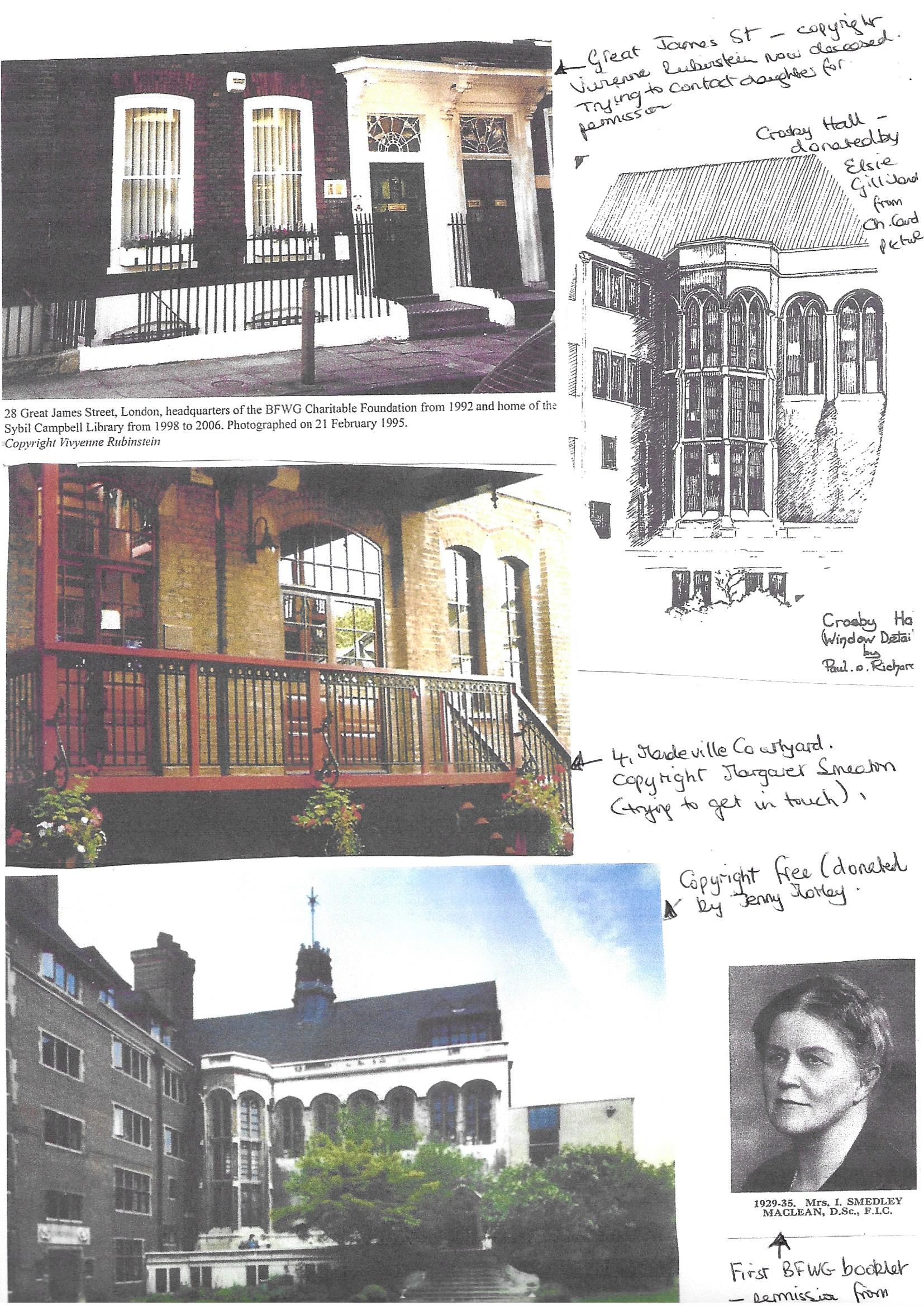 A scanned image of a collage showing a collection of historic images. Includes photographs and drawings of buildings and notable people.