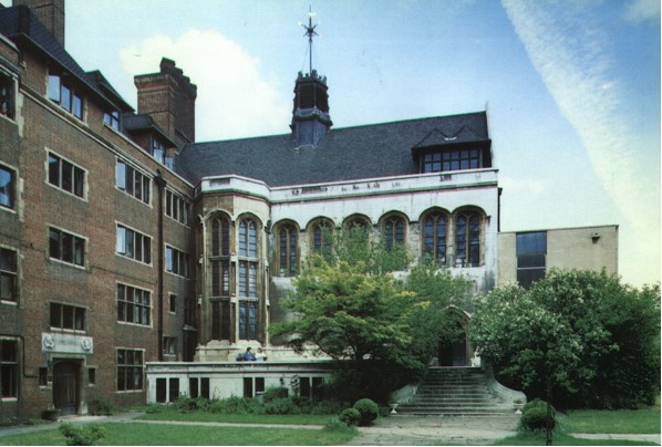 A colour photograph showing a building, blue sky and trees. The image shows Crosby Hall.