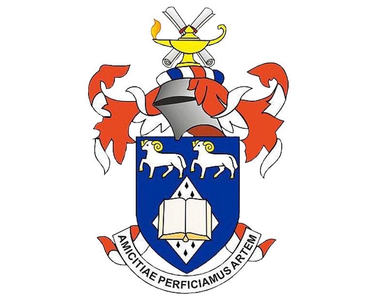 An image of the BFWG coat of arms. A blue, red, yellow and white coat of arms illustration.